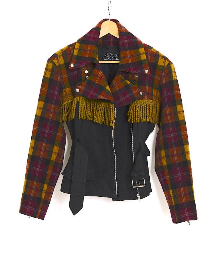 Plein Sud 1980s vintage wool fringed short belted jacket For Sale 3