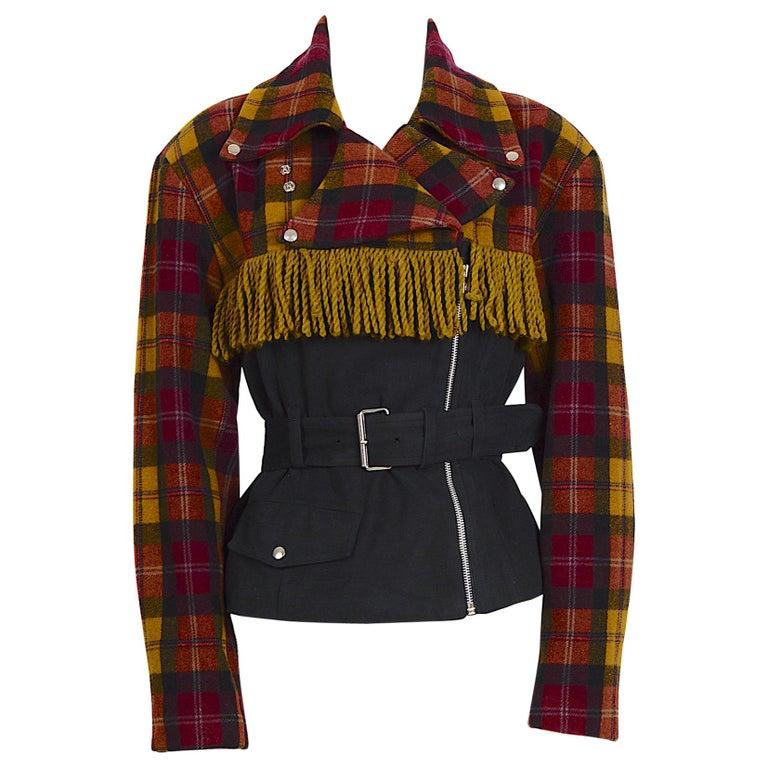 Plein Sud 1980s vintage wool fringed short belted jacket For Sale
