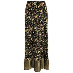 Plein Sud Floral Silk Prairie Maxi Skirt with Gold Hem