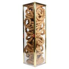 Plexiglas, Brass and Hemp Rope Art Pedestal