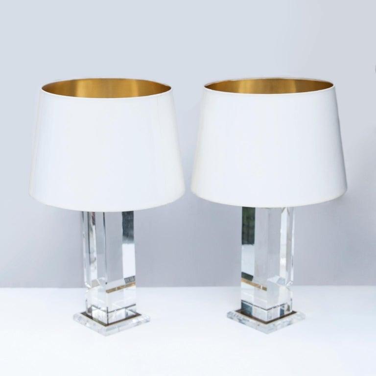 Hollywood Regency Plexiglas Table Lamps France 1970s For Sale