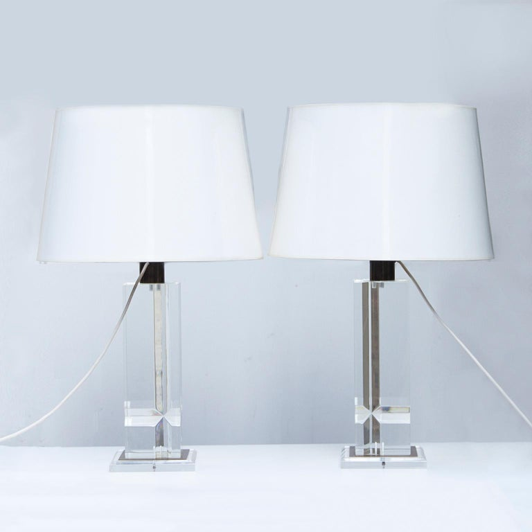 French Plexiglas Table Lamps France 1970s For Sale