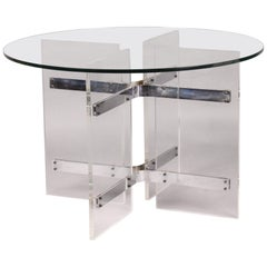 Plexiglass and Glass Guerdon or Dinning Table for 4 People