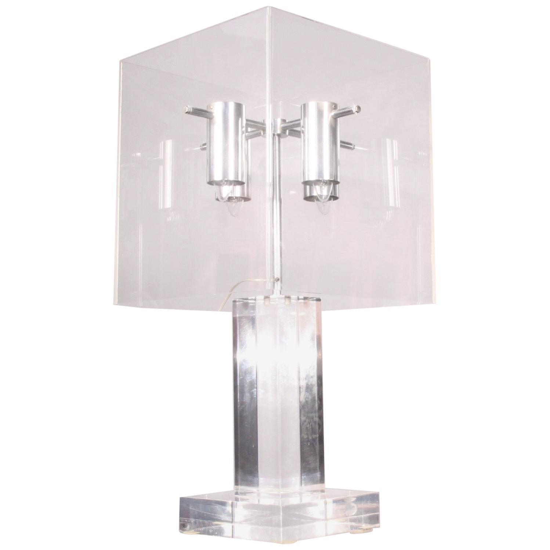 Plexiglass and Metal Table Lamp