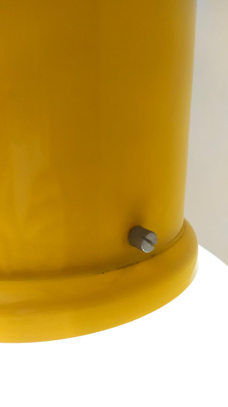 Plexiglass and Yellow Varnished Aluminum Industrial Pendant, Italy, 1970s For Sale 3