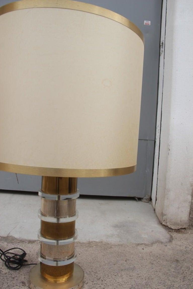 Late 20th Century Plexiglass Metal Chrome Table Lamp, 1970s Italian design  For Sale