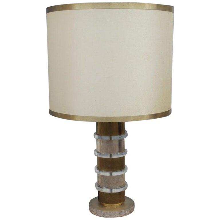 Plexiglass Metal Chrome Table Lamp, 1970s Italian design  For Sale
