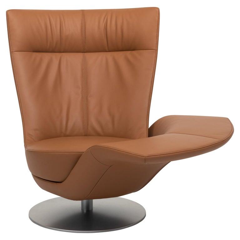 For Sale: Orange (Hazel) Pli Dual Rotation Multi-Functional Leather Armchair by FSM