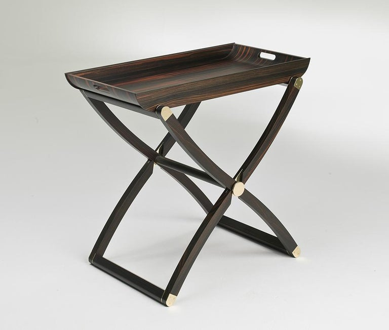 Italian Plie Ebony Folding Coffee Table contemporary design by Giordano Viganò For Sale