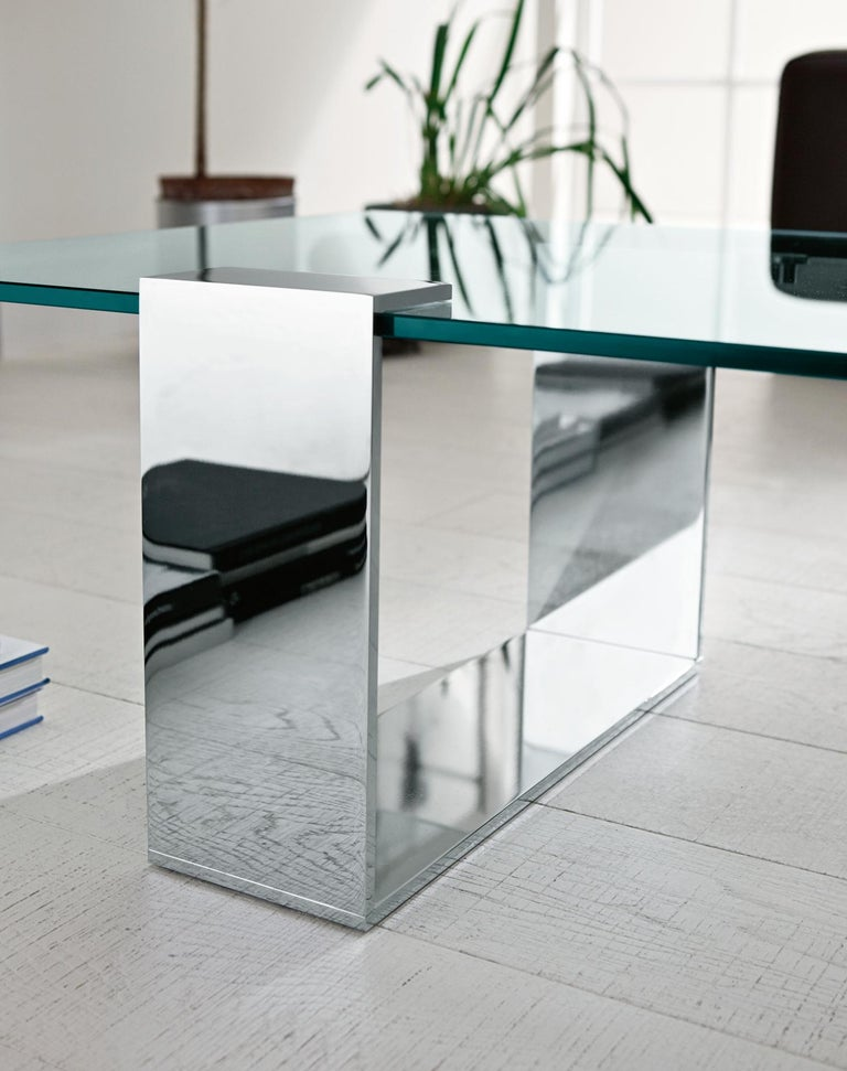 Modern Plinsky Glass Coffee Table, Designed by Giulio Mancini, Made in Italy For Sale