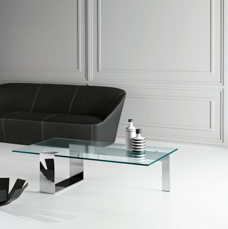 Italian Plinsky Glass Coffee Table, Designed by Giulio Mancini, Made in Italy For Sale