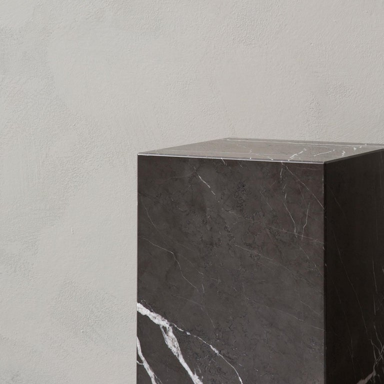 Contemporary Plinth, Cubic, Grey Marble For Sale