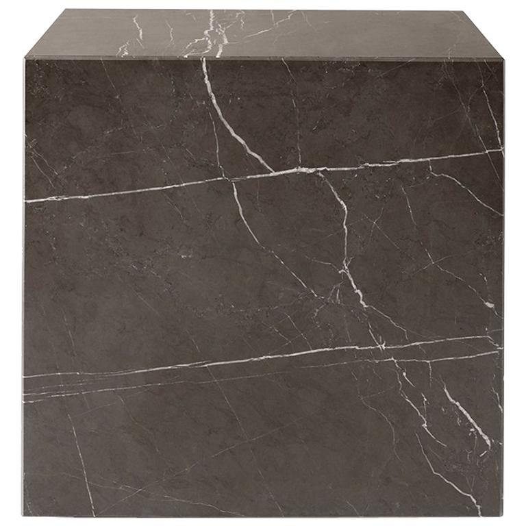 Plinth, Cubic, Grey Marble For Sale