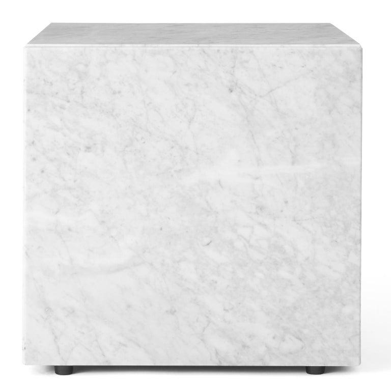 Scandinavian Modern Plinth, Cubic, White Marble For Sale