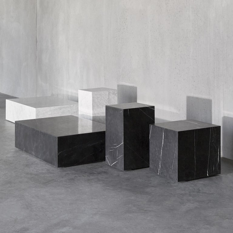 Plinth, Cubic, White Marble In New Condition For Sale In San Marcos, CA