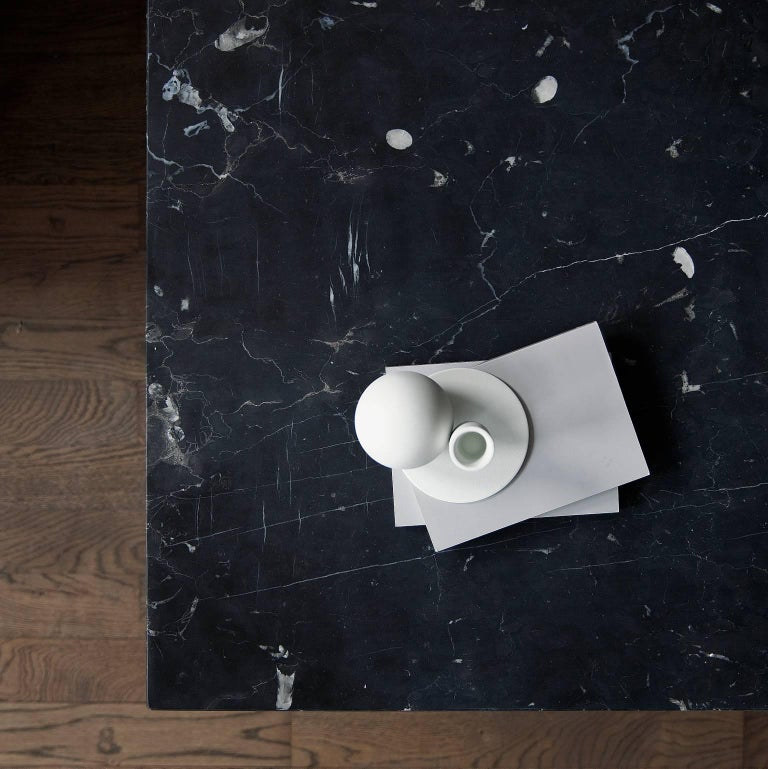 Contemporary Plinth, Low, Black Marble For Sale