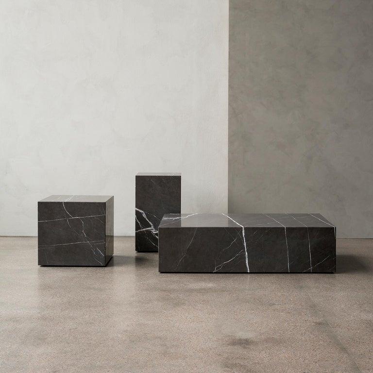 Scandinavian Modern Plinth, Low, Grey Marble For Sale