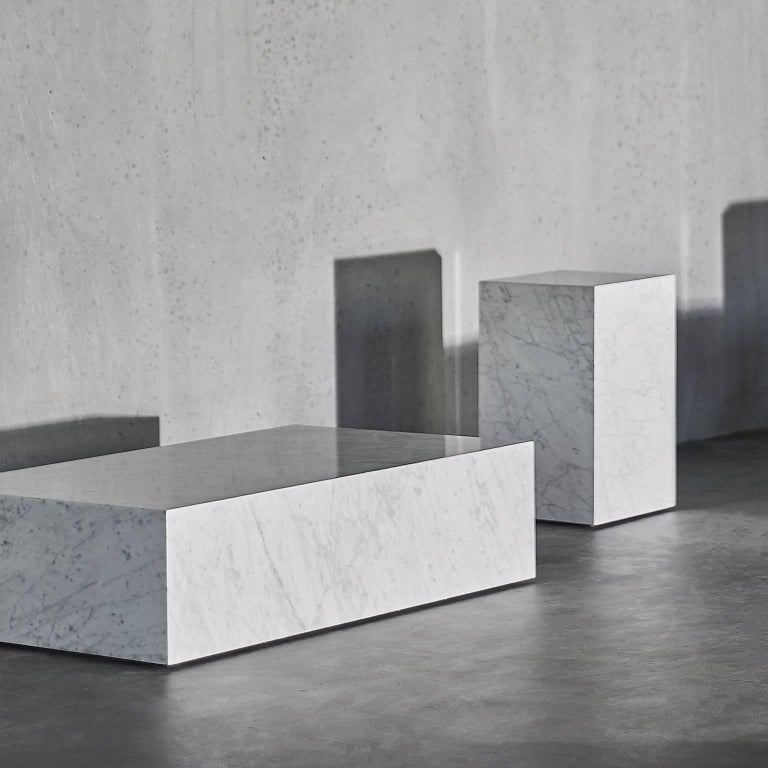 Plinth, Low, White Marble In New Condition For Sale In San Marcos, CA