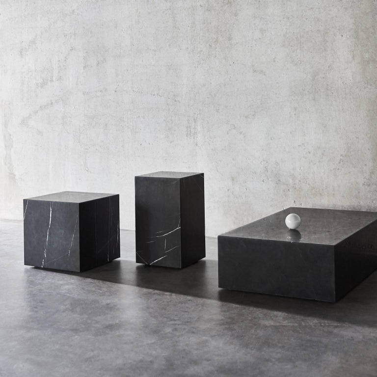 Contemporary Plinth, Low, White Marble For Sale