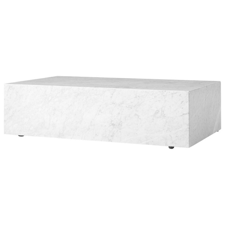 Plinth, Low, White Marble For Sale