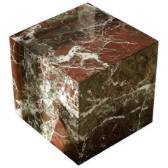 Plinth Table Cubic in Rosa Levanto Marble
