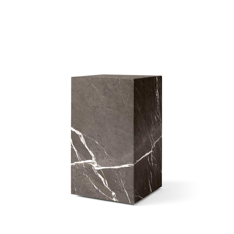Scandinavian Modern Plinth, Tall, Grey Marble For Sale