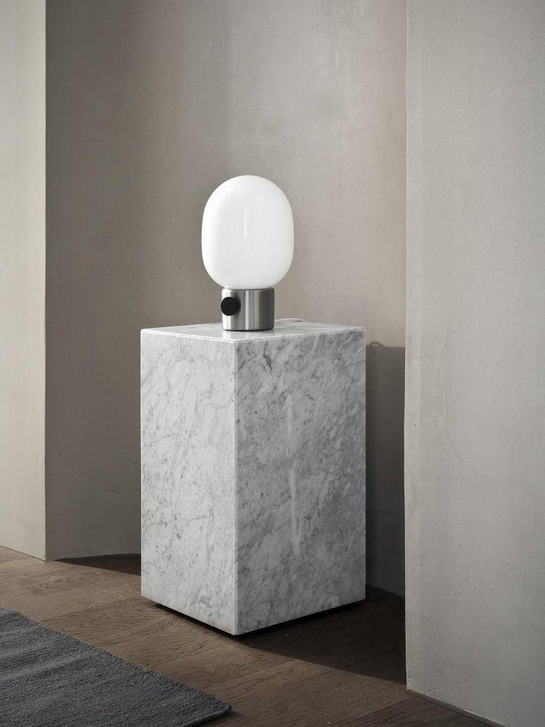 Scandinavian Modern Plinth, Tall, White Marble For Sale