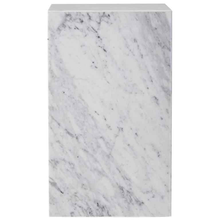 Plinth, Tall, White Marble For Sale
