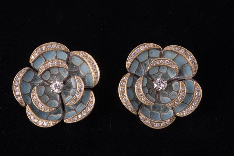 Art Deco Plique-à-Jour Enamel and Diamond Earrings For Sale