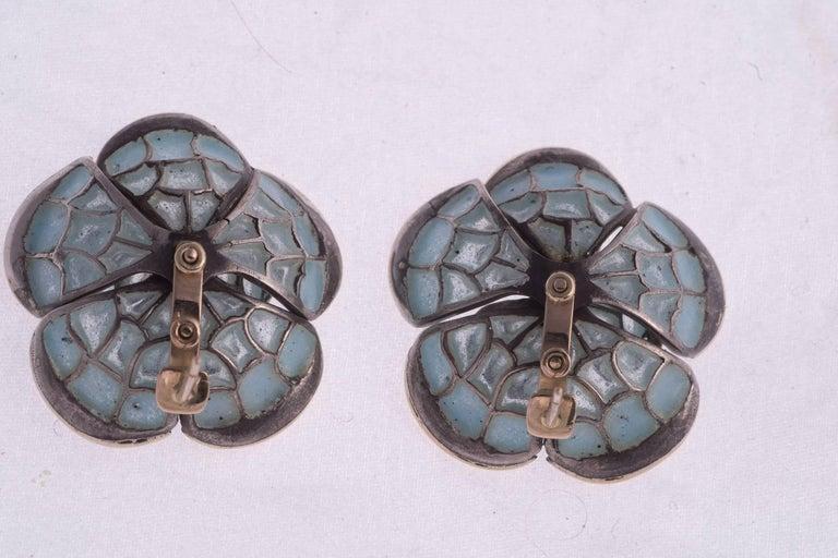 Plique-à-Jour Enamel and Diamond Earrings In Excellent Condition For Sale In New Orleans, LA