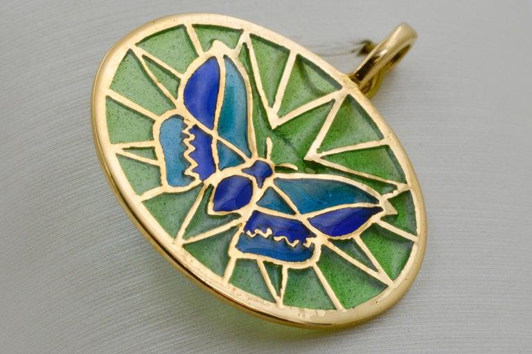 Modern Plique a Jour Butterfly Enameled Glass 18 Karat Gold Pendant For Sale
