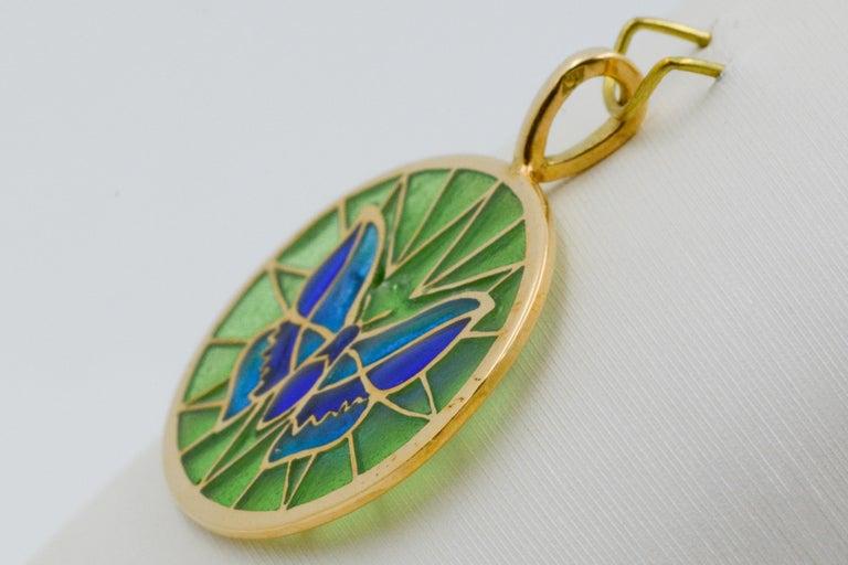 Plique a Jour Butterfly Enameled Glass 18 Karat Gold Pendant For Sale 1