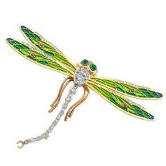 Plique à Jour Dragon Fly Diamond Ruby Brooch