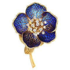 Plique-à-Jour en Tremblant Diamond Flower Brooch