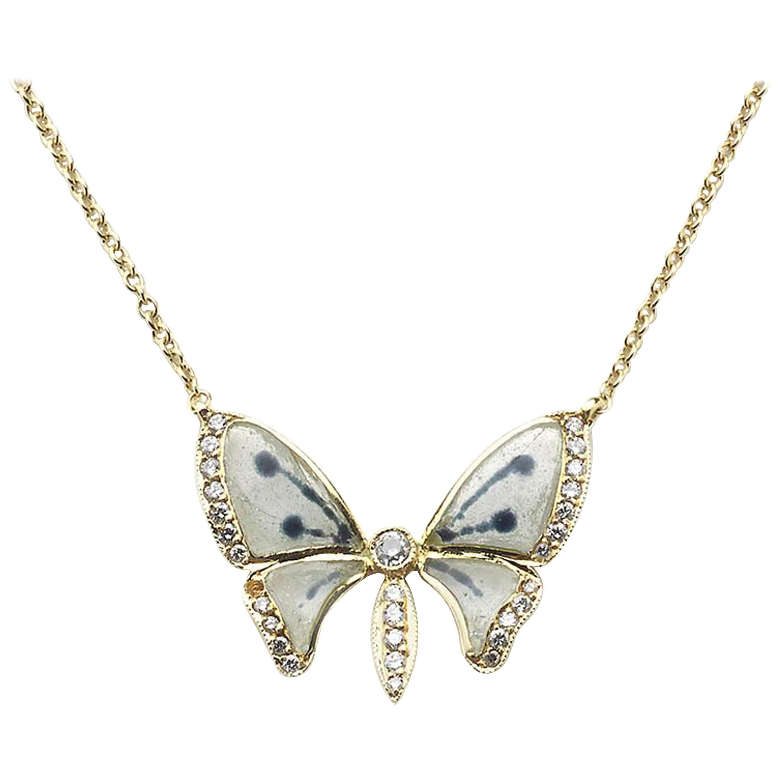 Plique-à-Jour Enamel, Diamond and Gold Butterfly Pendant Necklace