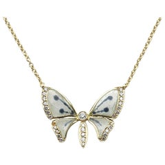 Plique-à-Jour Enamel Diamond and Gold Butterfly Pendant Necklace