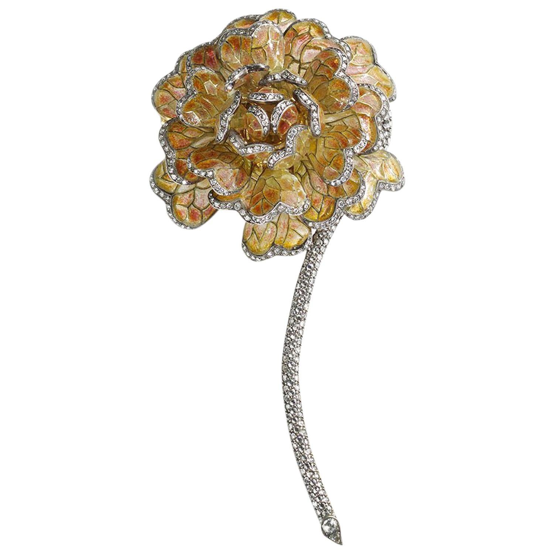 Plique-à-Jour Enamel Diamond Gold Chrysanthemum Brooch