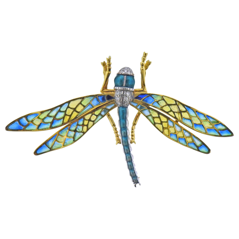 Plique a Jour Enamel Diamond Gold Dragonfly Brooch