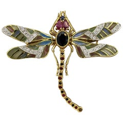 Plique-à-Jour Enamel Diamond Sapphire Ruby Gold Dragonfly Brooch