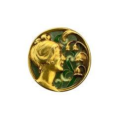 Plique-à-Jour Enamel Gold Brooch Pendant
