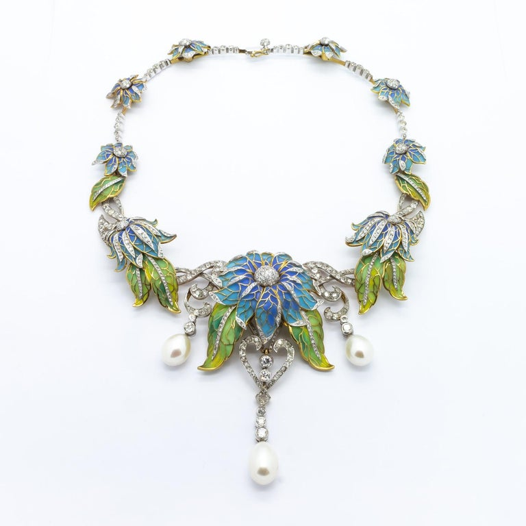 Old European Cut Plique-a-Jour Enamel Pearl Diamond Flower Necklace