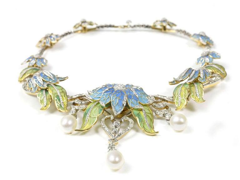 Plique-a-Jour Enamel Pearl Diamond Flower Necklace 1