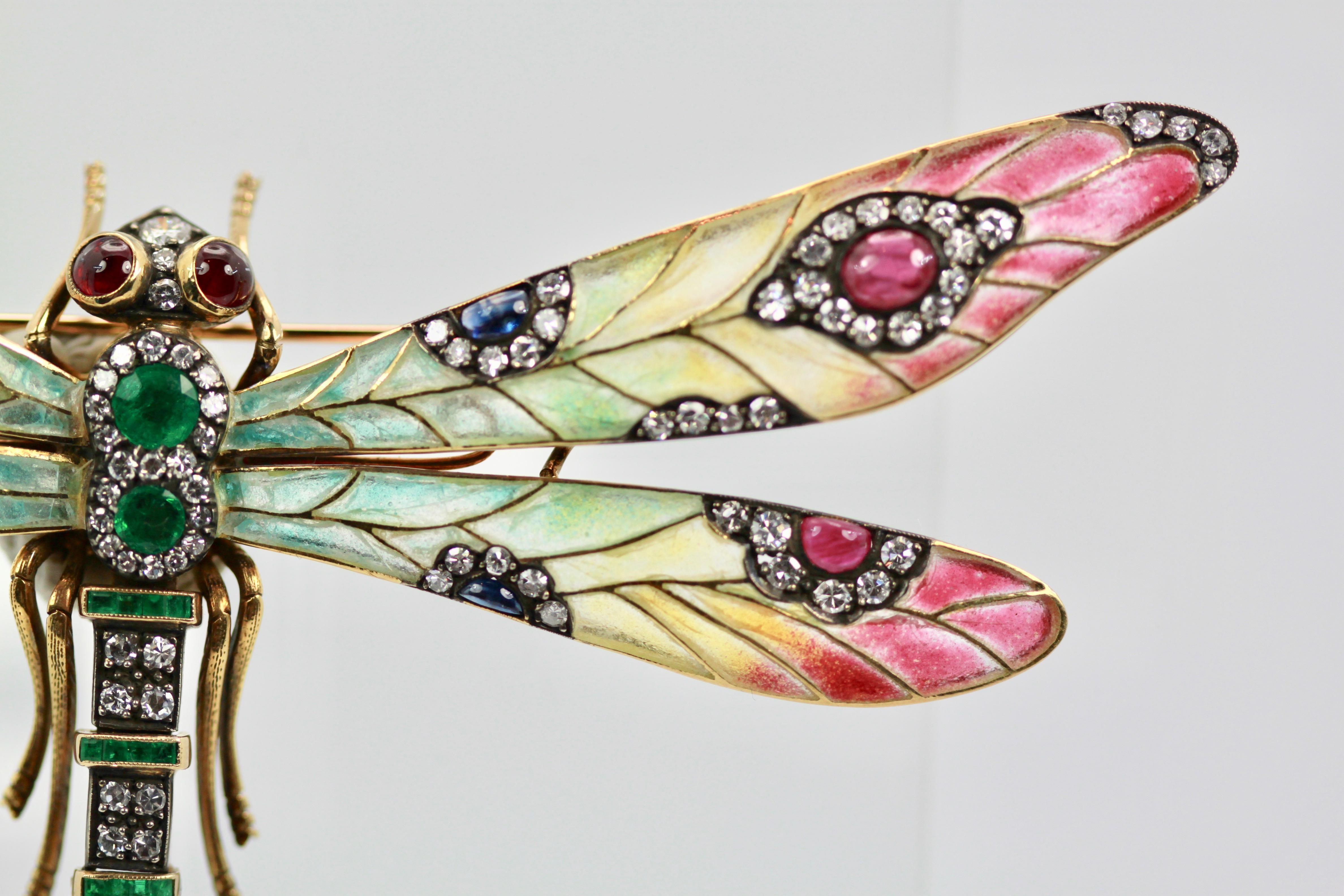 44a57f87eb1 Plique à Jour Huge Diamond Gemstone Dragonfly Brooch 18 Karat For Sale at  1stdibs