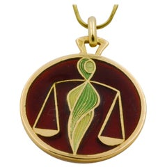 Plique a Jour Libra 18 Karat Yellow Glass Enamel Pendant