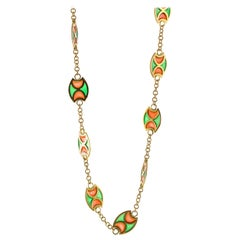 Plique-à-Jour Orange and Green Enamel 18 Karat Yellow Gold Station Necklace