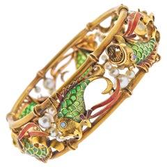 Plique A Jour Pearl Opal Gold Fish Bangle Bracelet