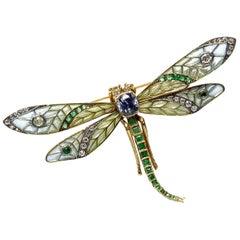 Plique à Jour, Sapphire, Emerald and Diamond Dragonfly Brooch