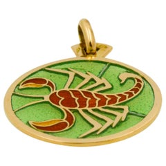 Plique-à-Jour Scorpio Stained Glass 18 Karat Yellow Gold Pendant