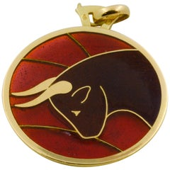 Plique a Jour Taurus 18 Karat Yellow Gold Glass Enamel Pendant