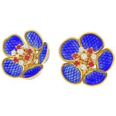 Plique Ajour Blue Enamel Ruby and Diamond en-Tremblant Earrings